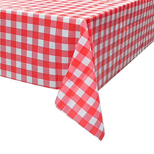 Plastic Tablecloth Disposable, Red and White Checkered Tablecloth, Pack of 6, 54' x 108' Rectangle