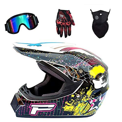 TIANDU Motocross Helmet 4Pcs Set MX Abstract Graffiti Letter P Pattern Adult Motorcycle Helmet ATV Scooter D.O.T Certified Helmet,Bright White,S