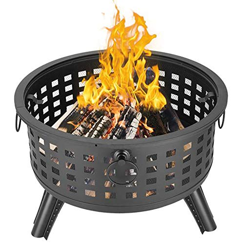 MathRose 26' Round Lattice Fire Bowl Black