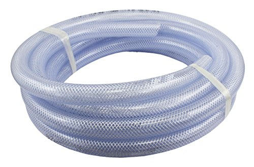 Duda Energy HPpvc050-100ft 100' x 1/2' ID High Pressure Braided Clear Flexible PVC Tubing Heavy Duty UV Chemical Resistant Vinyl Hose Water Oil