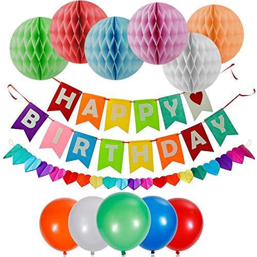 Decoraciones de Feliz Cumpleaños - Birthday Decoracion - Gran variedad de Decoración Incluye globos, carteles, y pompones - Ideal para todas las celebraciones de cumpleaños.
