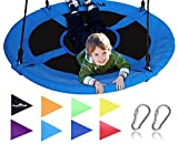 Saucer Tree Swing ,Giant 40 Inches with Carabiners and Flags, 700 lb Weight Capacity, Steel Frame, Waterproof, Easy to Install with Step by Step Instructions, Non-Stop Fun! (Blue)