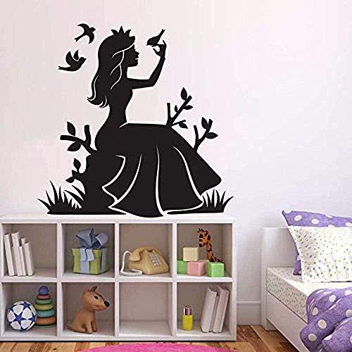 Muursticker,mode meisjes kamer decor sprookje prinses muursticker bloemen vogels vinyl muurtattoo kwekerij behang prinses muur muurschildering 57x57cm