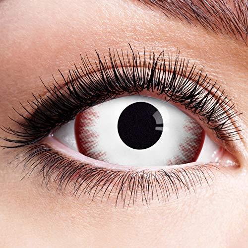 Farbige Kontaktlinsen Rot Weiß Ohne Stärke Motiv Eye Linsen Halloween Karneval Fasching Cosplay Kostüm Red White Eyes Weiße Rote Augen Komplett Mini Sclera Zombie Vampir 17mm
