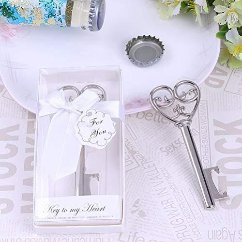 takestop® blikopener voor flessen, 6 stuks, hartvorm, sleutelvorm, in doos, voor post, gastgeschenk, bruiloft