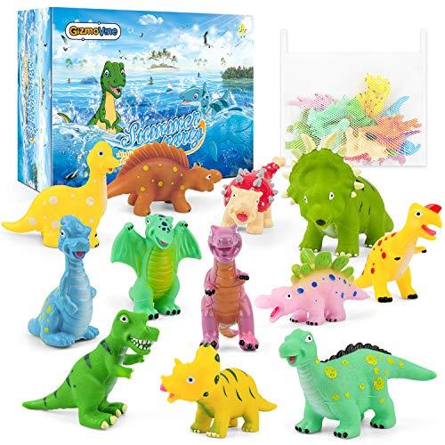 GizmoVine Badespielzeug Badewannenspielzeug Baby Spielzeug Aufbewahrung Spielzeugnetz für Badewanne Dinosaurier Spielzeug Organizer Wasserspielzeug Babyspielzeug für Babys Jungen und Mädchen
