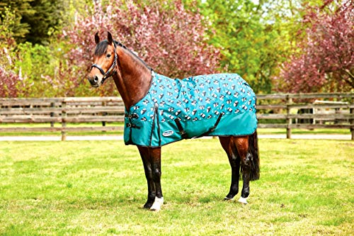 Weatherbeeta Comfitec Essential - Lightweight Horse Blanket Sheet 600Denier, Waterproof & Breathable Standard Neck Turnout Sheet - Great for Spring & Summer - Blue Panda Print 60""