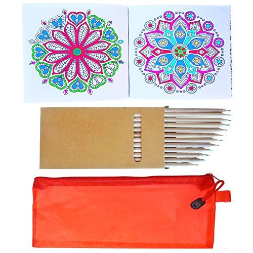 PARTITUKI Libro da Colorare per Adulti (Formato Tascabile, con 96 Motivi Geometrici Mandala), 12 Matite Colorate e un'Elegante Custodia