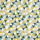 Dekostoff Halbpanama Dreiecke – grün — Meterware ab 0,5m — zum Nähen von Kissen/Tagesdecken, Tischdecken & Tischläufer