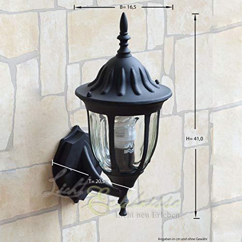*MILANO Wandlampe Außen Schwarz H:37cm wetterfest rustikal Außenleuchte Haus Wand Tür Balkon Terrasse*