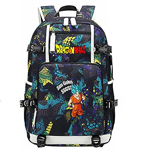 ZZGOO-LL Dragon Ball Son Goku/Vegeta IV/Torankusu Anime Mochilas Moda Viaje Mochila Informal Negocios Universidad USB Unisex-D