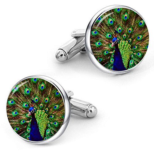 Kooer Peacock Cufflinks Custom Personalized Wedding Cuff Links Vintage Handmade Peafowl Jewelry (silver plated cufflinks)