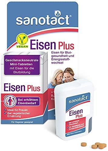 sanotact Eisen Plus Mini-Tabletten • 100 Mini Eisentabletten hochdosiert bei Eisenmangel • Eisentabletten Vegan mit Eisen Vitamin C, B2, B6, B12 & Kupfer