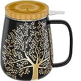 amapodo Taza de té con tapa y colador, 600 ml, porcelana, grande, juego XXL, color gris oscuro, sin plástico