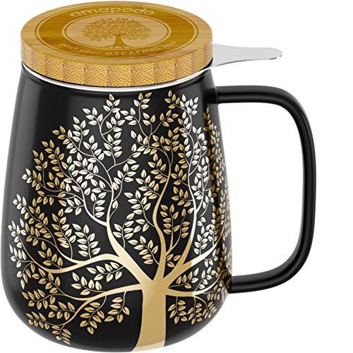 amapodo Taza de té con tapa y colador, 600 ml, porcelana, g
