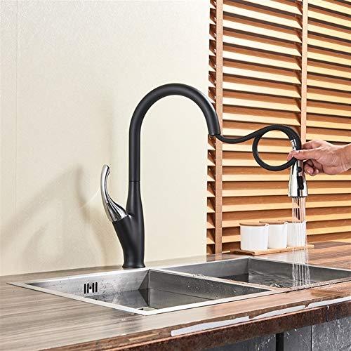 Zwarte Keuken Kraan Twee Waterwegen Warm En Koud Water Schakelaar Pauze Knop Mixer Tap Gratis Rotatie keukenkraan