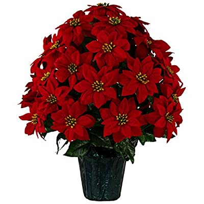 """Sympathy Silks 24"""" Artificial Red Poinsettia Flower Bouquet – 5 lbs Weighted Pot – 24"""" Tall and 18"""" Wide – Perfect Size for Christmas Decor, Home, Office, or Memorial"""