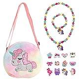 Elesa Miracle Little Girl Plush Purse Handbag Kids Necklace Pretend Play Toy Playset Jewelry Crossbody Purse for Children Toddler Baby Girls, Unicorn