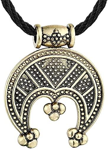 ZGYFJCH Co.,ltd Collares Collares Femeninos Protección AMULTE Cuerda Cadena Collar Colgante Vikingo Media Luna