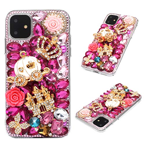 iPhone 11 Case, Mavis's Diary 3D Handmade Luxury Bling Crystal Golden Castle White Pumpkin Carriage Pink Shiny Diamonds Glitter Rhinestones Gems Clear Hard PC Cover for iPhone 11