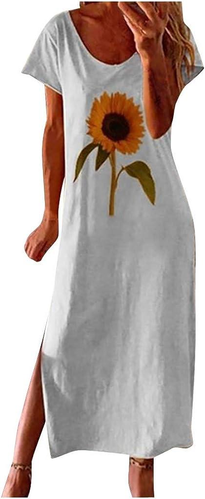 iQKA Women's Linen Dresses Sunflower Print Short Sleeves Side Split Summer Casual Loose Dress Vestidos Plus Size