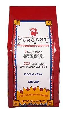 Puroast Coffee Low Acid Ground Coffee, Mocha Java Flavor, High Antioxidant, 2.5 Pound Bag, 40 Ounce (Pack of 1) (SYNCHKG024058)