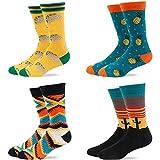 ECOMBOS Herren Socken Bunt - Baumwolle Socken Herren, Gemusterte Socken Muster Lustige Socken, Modische Socken Mehrfarbig Klassisch Baumwolle 38-45 - Mehrfarbig-4 Paar