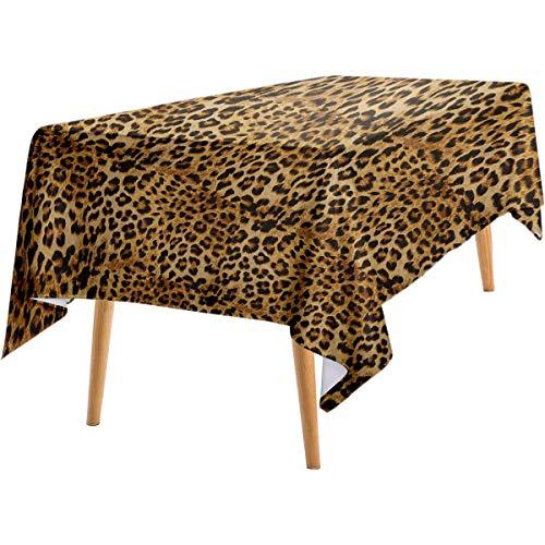 LanQiao Brown Deep Dream Wallpaper Leopard Print Animal Skin Digital Printed Wild African Safari Themed Spotted Pattern Art Outdoor Rectangular Tablecloth 60'x102' Brown.jpg