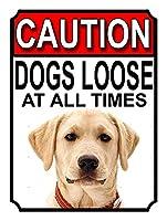 注意犬は常に緩んでいます壁の金属のポスターレトロなプラーク警告ブリキのサインヴィンテージ鉄の絵画の装飾バーガレージカフェのための面白いハンギングクラフト