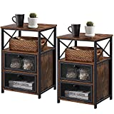 VECELO Modern Night Stand, End Side Table with Storage Space and Door, Nightstands with Flip Drawers for Living Room,Bedroom,Lounge,Set of 2, Brown