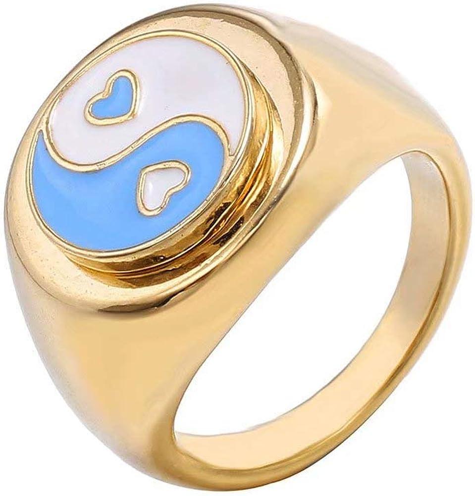 WOGOU Stainless Steel Charm Rings for Women Girls Enamel Yin Yang/Daisy Flower/Lucky Clover/Rose/Heart, 18K Gold Plated Statement Cute Ring