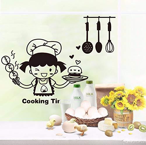 Dalxsh Leuke Kleine Meisje Keuken Huisdecoratie Woonkamer Muurstickers Waterdichte Glas Tegel Kast Persoonlijkheid Stickers 20x30cm
