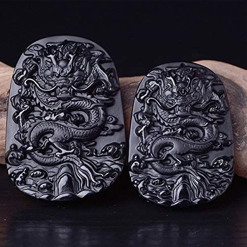 Natürlicher Obsidian Dragon Anhänger DIY Zubehör Natürlicher Halbedel Edelstein Anhänger Chinesische Feng Shui Dragon Glück Glück Reichtum Geld Amulett Für Halskette (2 Stücke Set),Medium