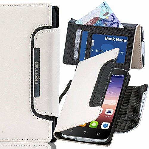 numia Huawei Ascend P6 Hülle, Handyhülle Handy Schutzhülle [Book-Style Handytasche mit Standfunktion & Kartenfach] Pu Leder Tasche für Huawei Ascend P6 Hülle Cover [Weiss-Schwarz]