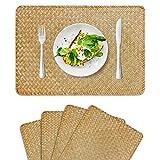FEILANDUO 4 tovagliette rettangolari in vimini naturale, 45 x 30 cm, per tavolo da pranzo e tavolo da cucina (originale, set di 4)