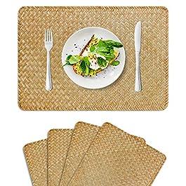 FEILANDUO Lot de 4 sets de table rectangulaires en jonc de mer naturel, 45 x 30 cm, en rotin tressé pour table de salle…