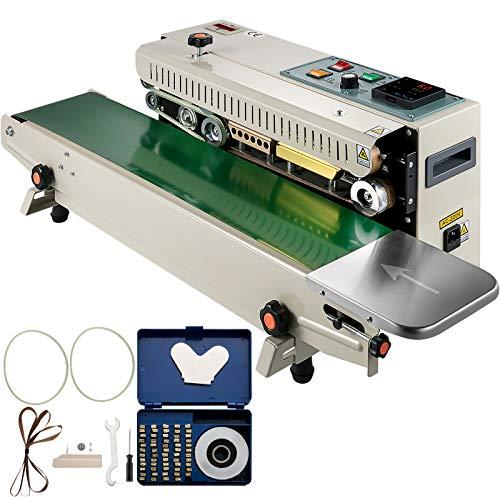 VEVOR Máquina de Sellado Continuo Automático FR900K, 0-16 m/min Selladora de Banda Ancho de Sello 6-15 mm Selladora Automática Horizontal para Sellar Bolsas de Plástico/Papel de Aluminio/Compuestas