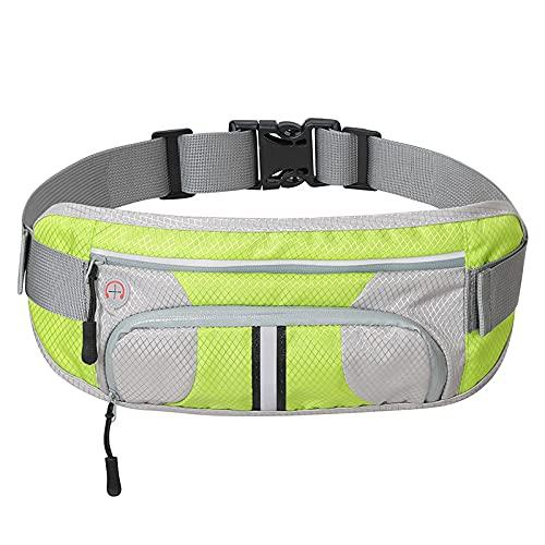 DOMELI Bolsa de ejecución Ajustable, Corredores Cinturón de Entrenamiento Bolsa de Cintura Elástica Slim Running Cinturón Paquete del Soporte del teléfono para Unisex,Verde