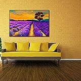 Pintura decorativa campo de lavanda B pintura al óleo computadora inyección de tinta pintura al óleo pintura núcleo-30cm x 45cm pintura de paisaje lienzo sin marco / pintura al óleo / pintura artesana