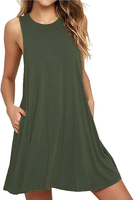 DD DEMOISELLE Women's Casual Swing Dress Pocket, Girls Summer Breathable Shift Sundress Sleeveless Tunic Plain Maternity Tank Beach Cover TShirt Dress, Army Green, Small