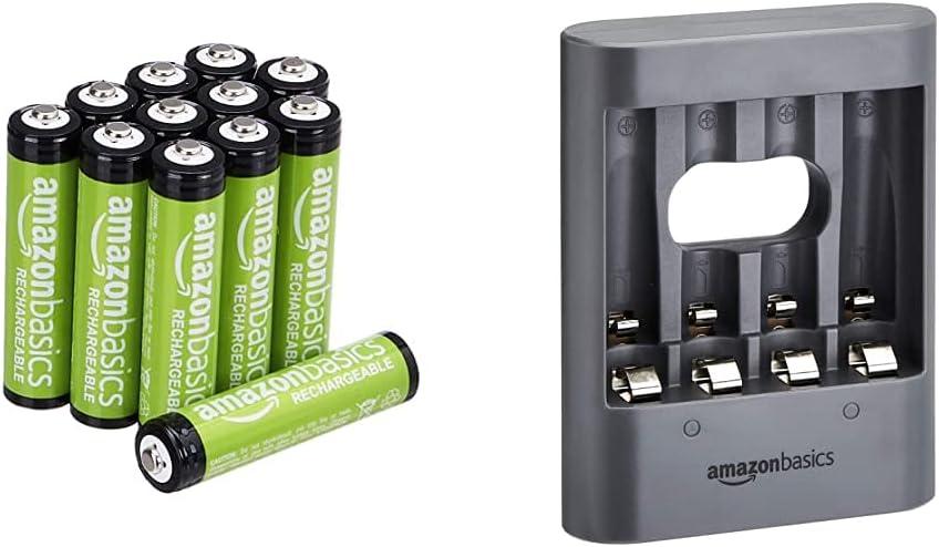 AmazonBasics Pilas AAA Recargables, precargadas, Paquete de 12 (el Aspecto Puede Variar) + Cargador de Pilas USB, Color Negro