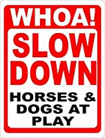 プレー中のスローダウンホース犬ティンサイン壁鉄絵レトロプラークヴィンテージ金属板装飾ポスターおかしいポスター吊り工芸品バーガレージカフェホーム