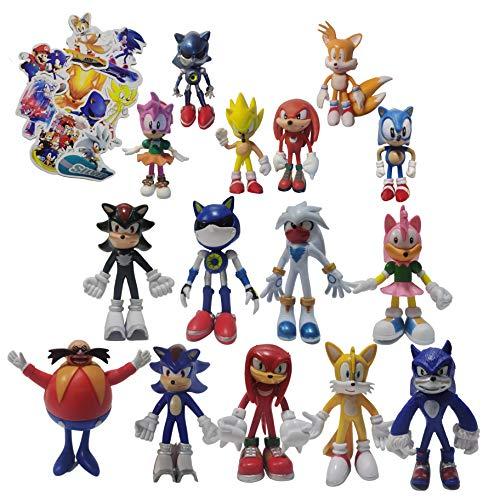 Figura Sonic 9pcs / set figura grande + 6pcs / set figura pequeña Sonic The Hedgehog Basic Plush Classic Sonic