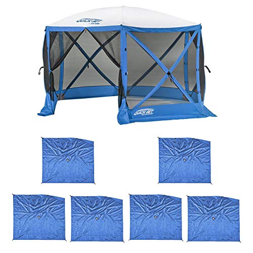 CLAM Quick Set Escape Sport Tailgating Shelter Tent + Wind & Sun Panels (6 Pack)