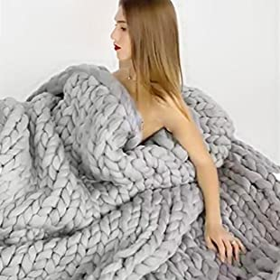 Fastar Chunky Knitted Blanket Handmade Thick Knitted Throw Sofa Blanket for Bedroom Living Room