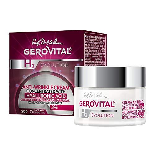 Gerovital H3 Evolution, Crème anti-rides concentrée, avec 3% d'acide hyaluronique, Pour tous types de peau, 50 ml