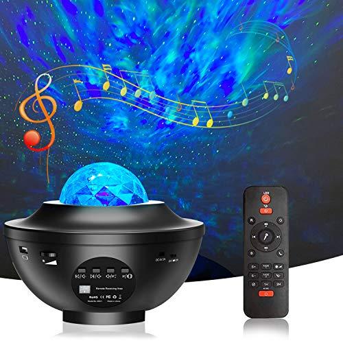 Bojim LED Sternenlicht Projektor, Ozeanwellen Projektor mit Fernbedienu, Bluetooth USB Lautsprecher, Time, Rotierende Wasserwellen Nachtlichter für Kinder Erwachsene Party und Geburtstag Geschenke