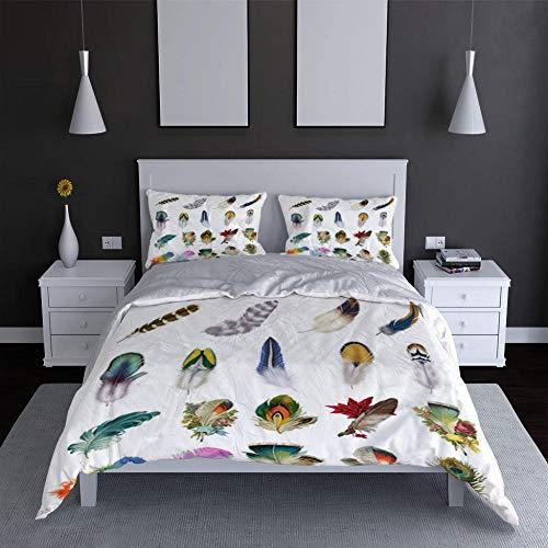 YJRXSS trapunte matrimoniali Invernali Super King/260x220cm Piume di Animali Colorate Set Copripiumino 3D in Microfibra Bohemian Bedding Comforter Copre Matrimoniale, Chiusura a Cerniera