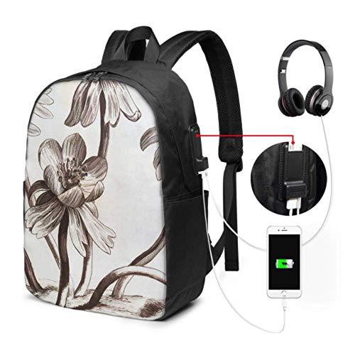 Laptop-Rucksäcke für Männer Floral Sepia Blumen Pflanze Zeichnung Vintage Damen Laptop-Rucksack mit USB-Ladeanschluss und Kopfhöreranschluss für College Work Travel