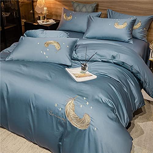 IKITOBI Sábanas de cama extra profundas, sábanas bajeras de bolsillo profundo teñidas lisas, sábanas bajeras bajeras de 1,8 cama, 4 piezas, funda de edredón de 220 x 240 cm